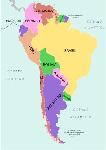 mapa da américa do sul países e capitais Países da América do Sul e Suas Capitais mapa da américa do sul países e capitais